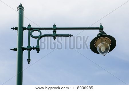 An old Thailand green streetlamp in a rural