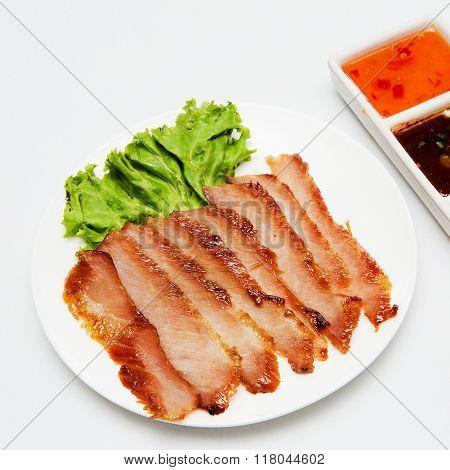 Roast pork and sauce Thai style food