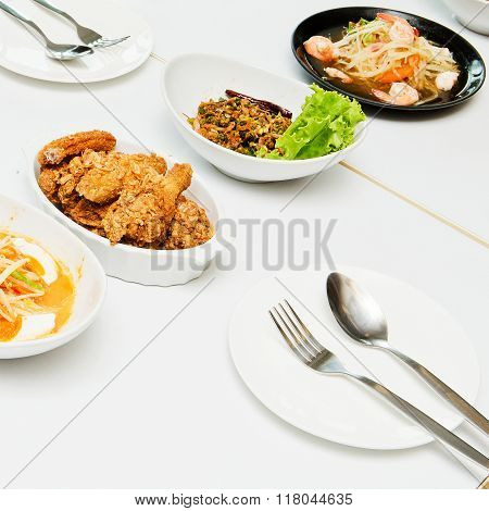 Thailand Isaan food on white table for background