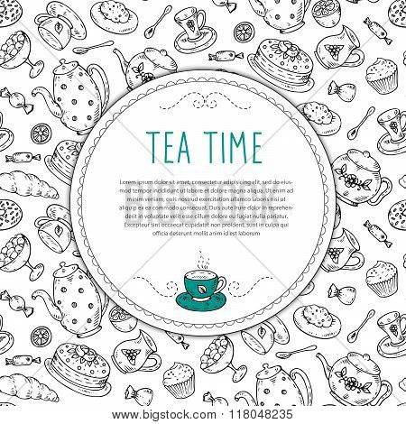 Vector Template With Tea Sketch Doodle Hand Drawn Elements.