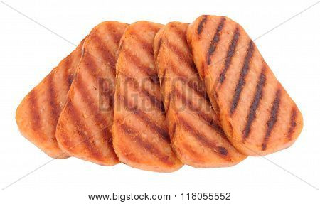 Slices Of Fried Spam Pork Luncheon Meat