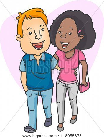 Illustration of an Interracial Couple Taking a Walk