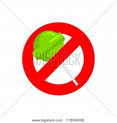 Stop Lollipop. Red Forbidding Sign For Sweet Candy On Stick. Ban There Is A Candy Treat. Forbidden T