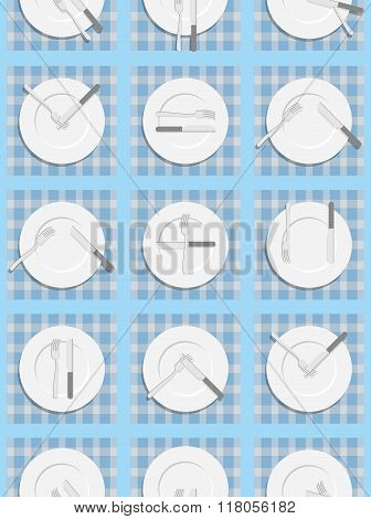 Dining Etiquette Seamless Pattern. Background For Menu Of Restaurant And Cafe. An Empty Plate, Knife