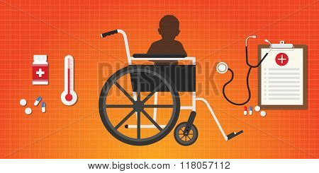 cerebral palsy concept baby kid sit in wheelchair