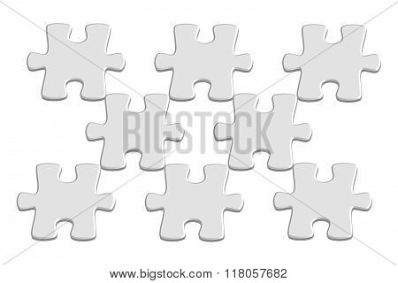 Light Grey 3D Jigsaw Puzzle Pieces