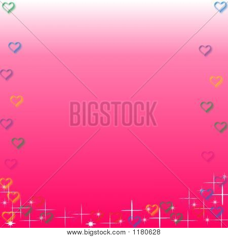sweet floating hearts and shining stars on background with copy-space. poster