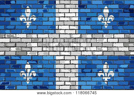 Flag Of Quebec On A Brick Wall.eps
