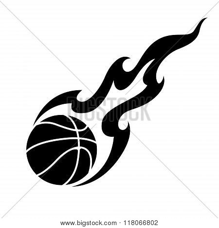 Graphic Basketball And Fire, Vector