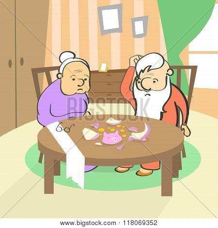 Old Couple Broken Piggy Bank Savings No Money