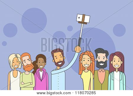 People Group Hipster Taking Selfie Photo On Smart Phone Wih Stick