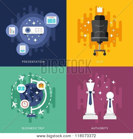 Set Of Business Concepts. Presentation, Vip, Business Trip, Authority. Vector Illustration In Flat D