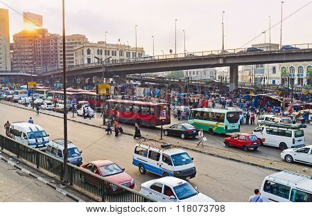 The Bus Terminus On Ramses Square
