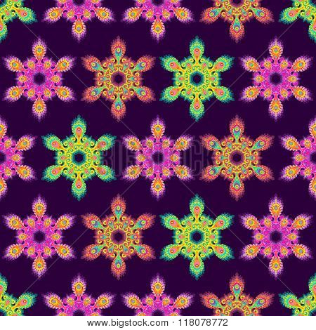 Colorful hexagon mandala seamless pattern