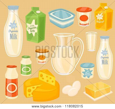 Dairy products. Vector icon of different dairy products. Milk, yogurt, kefir, butter, egg and cheese. Organic food, farmers food. Organic farmers food. Organic food and dairy product concept. Milk product icon. Cartoon dairy product. Dairy icon.