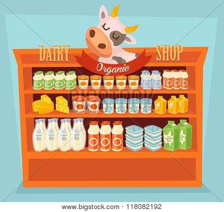 Supermarket Shelf, Dairy Products. Milk Carton, Yogurt and other Dairy on Supermarket Shelf. Food Shelf, Dairy Shelf. Organic farmers food. Organic food and dairy product concept. Milk product icon. Cartoon dairy product. Dairy icon.