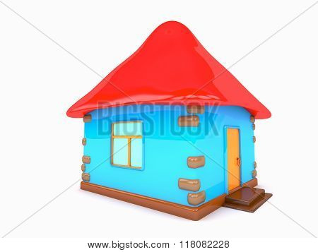 Small Colored House White Background