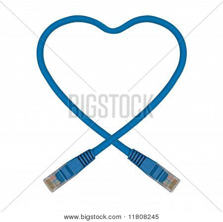 Blue Heart Shaped Ethernet Network Cable