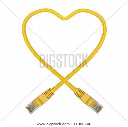 Yellow Heart Shaped Ethernet Network Cable