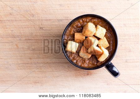 Lentil Soup With Croutons In Little Bowl