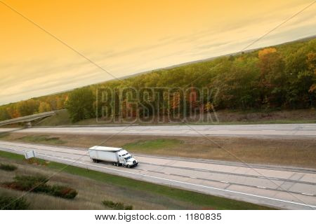White Semi Truck On High Way