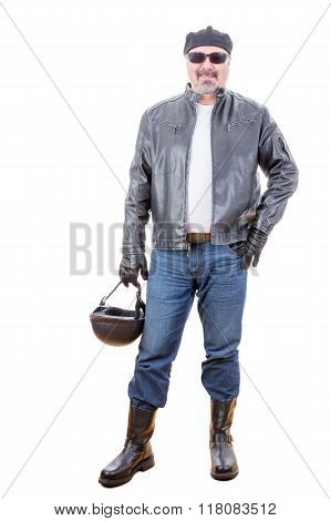 Tough Smiling Motorcyclist Standing Over White