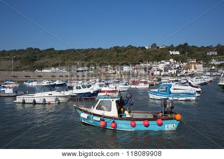 Lyme Regis harbour Dorset England UK on a beautiful calm still day on the English Jurassic Coast