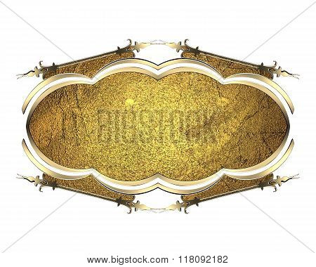 Gold Frame. Element For Design. Template For Design. Copy Space For Ad Brochure Or Announcement Invi
