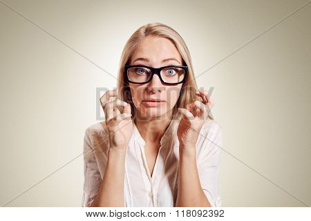 Closeup portrait stressed frustrated shocked business woman yelling screaming temper tantrum isolated wall background. Negative human emotion facial expression reaction attitude poster