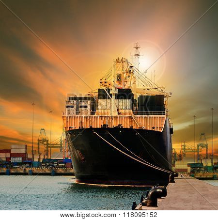 Container Ship In Import Export Ship Yard Use For Comercial Freight, Cargo And Logistic Industry Bus