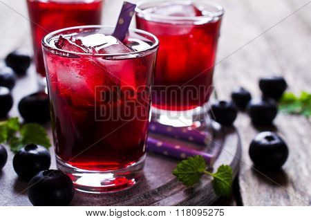 Transparent Drink Blueberries