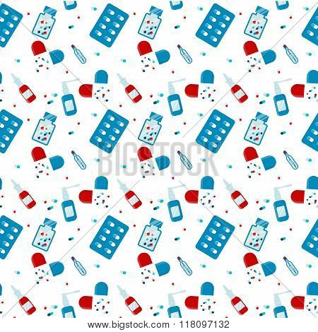 Seamless pattern of Set flat medical pills