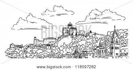 vector - Castle Trencin , Slovakia Republic, Europe