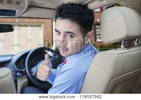 Success Person With New Car At Home