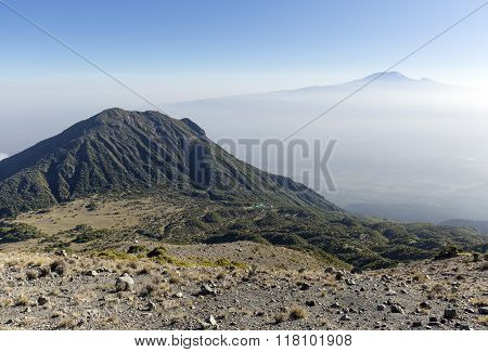 Mount Meru & Kilimanjaro at sunrise
