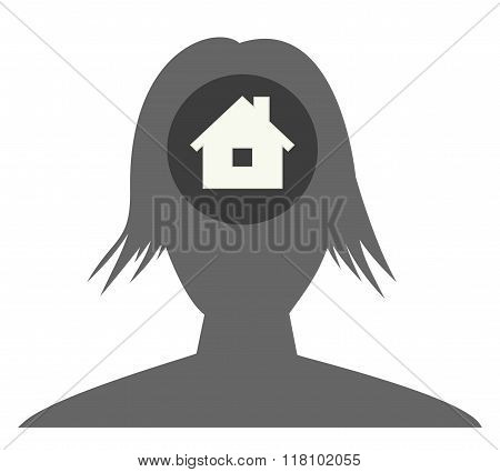 The Female Head Silhouette With House Icon