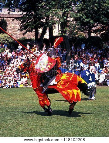 Knight on horseback.