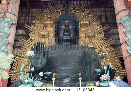The Great Buddha inside Todai-Ji Temple