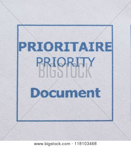 Prioritaire Priority Document - Priority mail postage meter from France