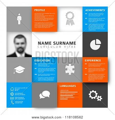 Vector mosaic minimalist cv / resume template profile - orange and blue version poster