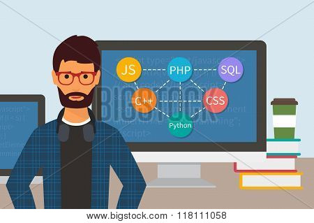Programming and coding. Flat vector