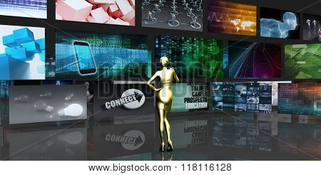Woman Viewing Video Displays on Black Background Art