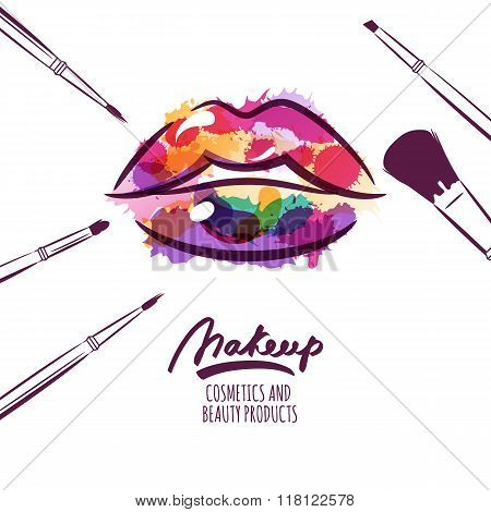Vector Watercolor Hand Drawn Illustration Of Colorful Womens Lips And Makeup Brushes.