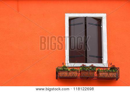 Window Shutters Closed On Orange Wall, Burano, Venice