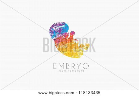 Embryo logo design. Silhouette of embryo baby in gunge style. Creative logo