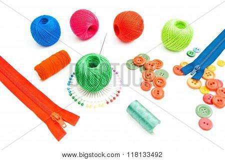 Colored Items For Needlework On White