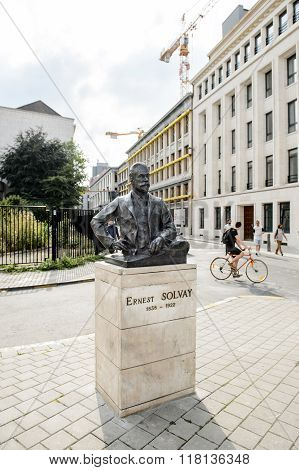 Ernest Solvay Statue In The Center Of Brussel