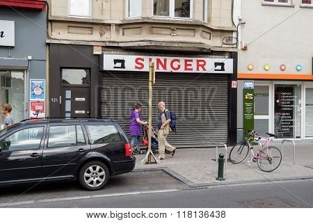 Singer Sewing Store On Street Of Brussels