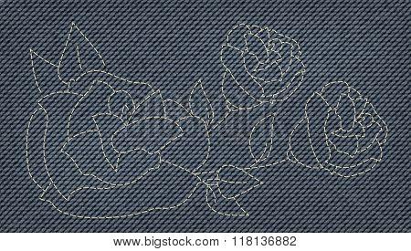 a cool rose fancywork as Blue Jeans Element. fashion denim texture. Vector Patch, Fragments.