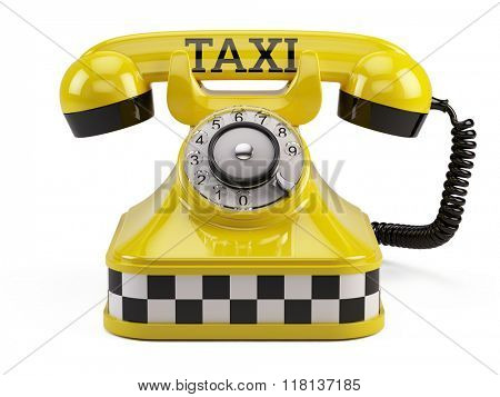Call a taxi service concept - Yellow retro taxi phone isolated on white